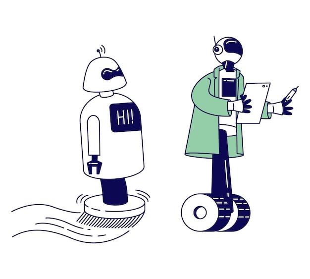 Robôs ajudam humanos trabalhando no escritório, assistência de bots de bate-papo, respondendo a perguntas online, ilustração plana de desenho animado