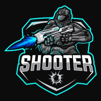 Robôs atirador mascote esport logotipo