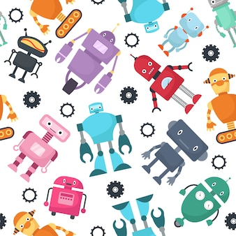 Robôs bonitos crianças futuristas vector sem costura padrão