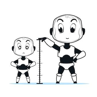Robôs bonitos de tamanho diferente