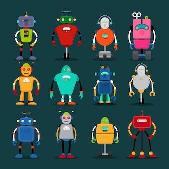 Robôs bonitos ícones coloridos grande conjunto