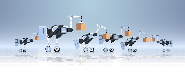 Robôs carregando caixas de papelão hi-tech fábrica inteligente armazém logística automação tecnologia conceito moderno robótico personagens de desenhos animados banner horizontal plana