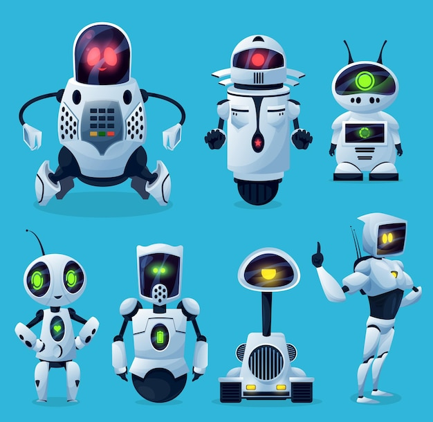 Robôs, chatbots e bots de ia de desenhos animados, personagens de brinquedos infantis. robôs android e futuros chatbots
