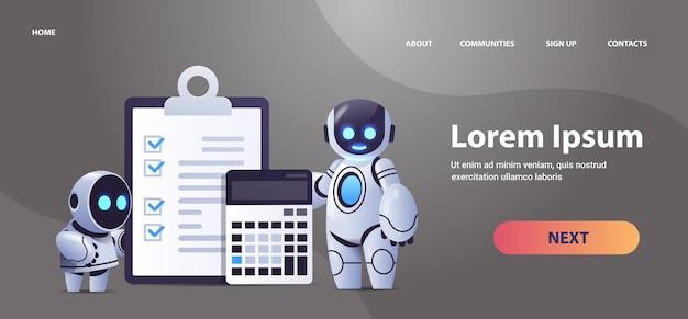 Robôs com prancheta e calculadora relatório de dados financeiros organização análise de processos contabilidade tecnologia de inteligência artificial