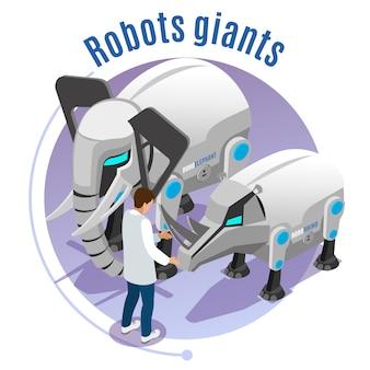 Robôs de animais emblema colorida e isométrica com descrição de gigantes de robôs ilustração de elefante e rinoceronte