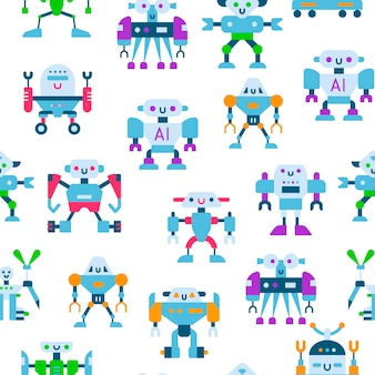 Robôs de brinquedo bonito e padrão sem emenda de fios.
