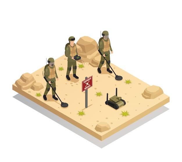 Robôs de desminagem militares isométricos