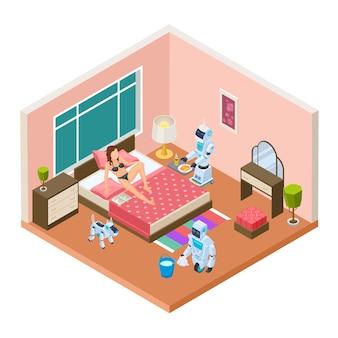 Robôs domésticos isométricos