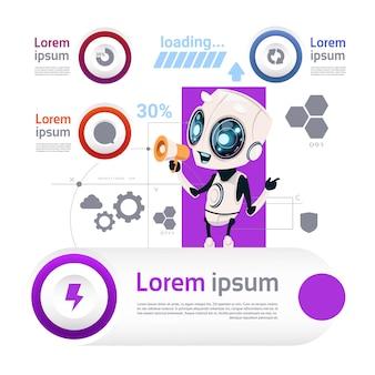 Robôs e conceito moderno da inteligência artificial de infographic dos elementos do molde da tecnologia