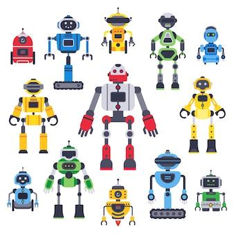 Robôs e robôs planos. mascote bot robótico, robô humanóide e assistente de chatbot bonito conjunto de caracteres plana de vetor