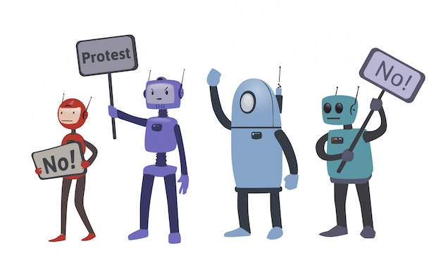 Robôs em ações de protesto. a luta pelos direitos do robô. ilustração, sobre fundo branco.