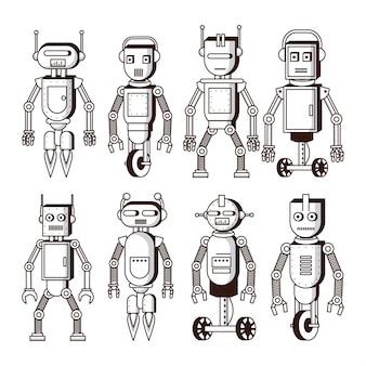 Robôs em preto e branco