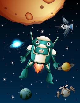 Robôs estão voando no espaço