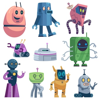 Robôs fofos e brinquedos de computador robóticos futuristas e coloridos