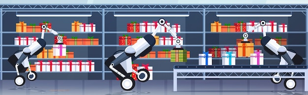 Robôs industriais carregando caixas de presentes na esteira rolante feliz natal, feliz ano novo, celebração