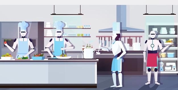 Robôs modernos chefs cozinhando pratos cozinheiros robóticos preparando comida