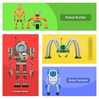 Robôs modernos para várias necessidades conjunto de ilustrações