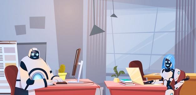 Robôs modernos trabalhando no escritório