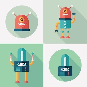 Robôs plana rodada e ícones quadrados definido com longas sombras.
