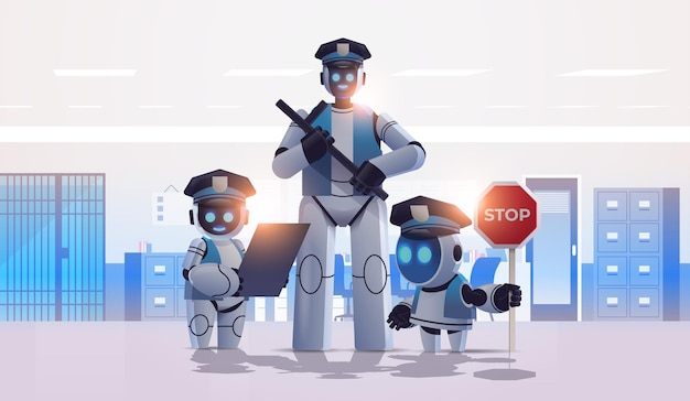 Robôs policiais patrulham policiais uniformizados juntos com tecnologia de inteligência artificial
