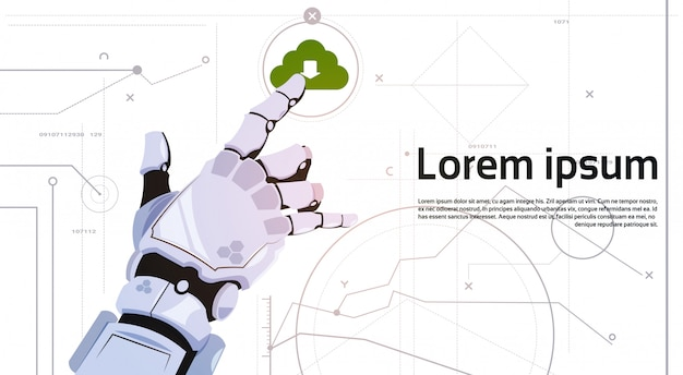 Robôs robóticos da tecnologia de computação da nuvem do base de dados da nuvem do toque da mão e conceito da inteligência artificial