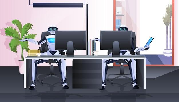 Robôs sentados no local de trabalho, empresários robóticos trabalhando no conceito de tecnologia de inteligência artificial de escritório