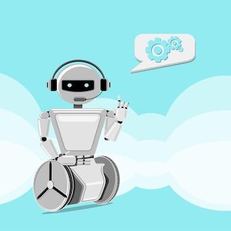 Robot ajuda a resolver problemas. suporte ao cliente chat-bot. ilustração vetorial.