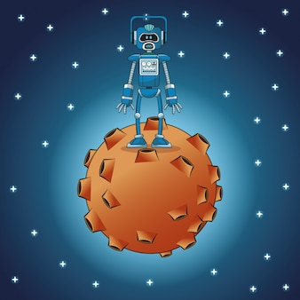Robot engineer moon space stars