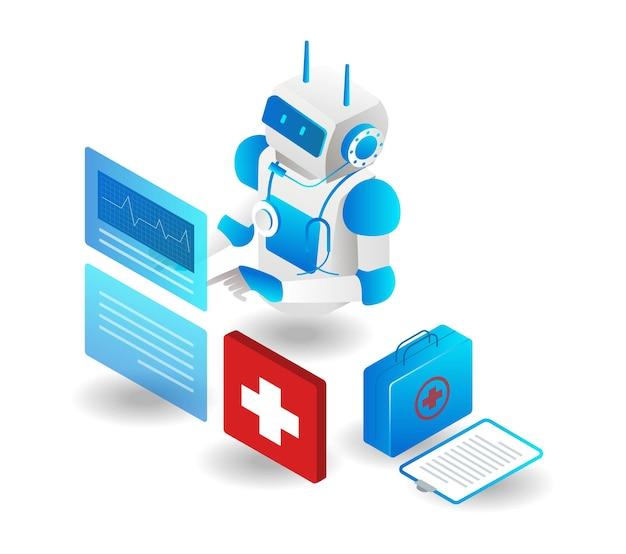 Robot está analisando dados de saúde do paciente