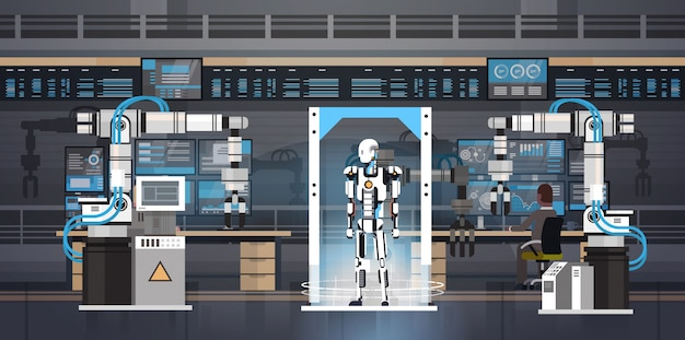 Robot production concept engenharia automação industrial robotic products manufacturing