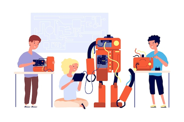 Robótica. apresentação de robôs, tecnologia de engenharia escolar.
