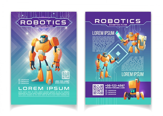 Robótica e tecnologias de inteligência artificial exposição modelo de páginas de desenhos animados de folheto de publicidade.