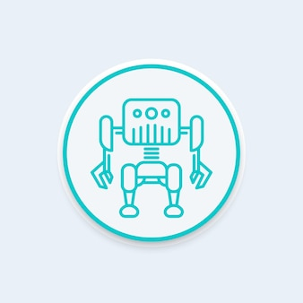 Robótica, ícone de linha de robô, pictograma redondo