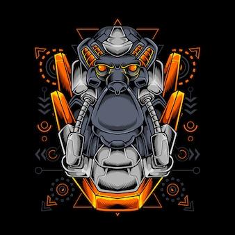 Robótico com cabeça de macaco e geometria sagrada