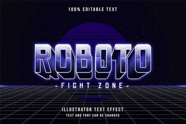 Roboto fight zone, efeito de texto editável em 3d gradação roxa estilo de texto sombra neon dos anos 80