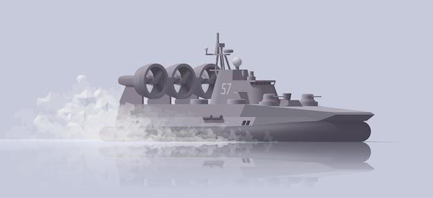 Roçada navio de guerra hovercraft sobre fundo claro. ilustração. coleção