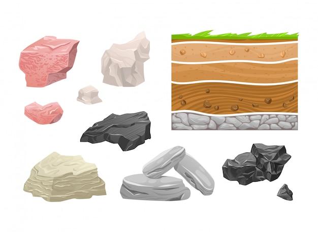 Rocha ajustada da montanha do ícone do conceito, pedra natural diferente isolada no branco, ilustração dos desenhos animados. granito tipo bloco, argila e obsidiana.