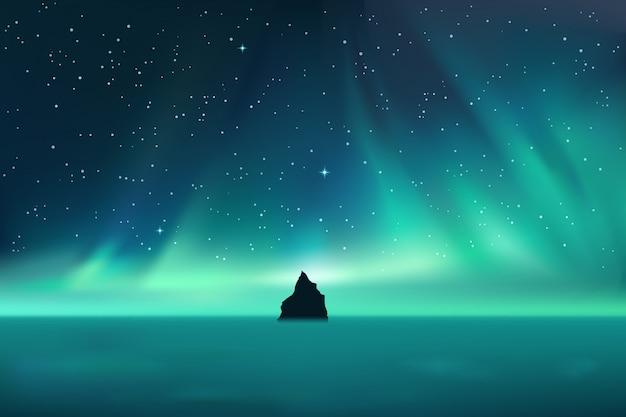 Rocha escura contra a paisagem da aurora boreal com estrelas