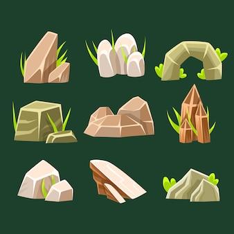 Rochas da sobrancelha natural de elementos diferentes do projeto da paisagem da coleção da forma para o jogo flash