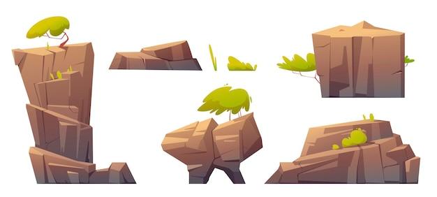 Rochas de montanha, ilha ou pedras com árvores e plantas verdes, elementos naturais, textura de materiais geológicos