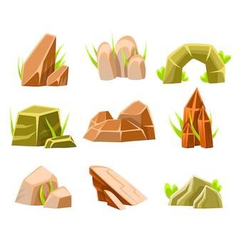 Rochas naturais marrons e verdes de coleção de forma diferente de elementos de design de paisagem para o jogo em flash