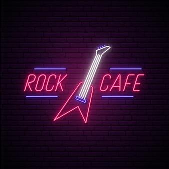Rock café sinal de néon.
