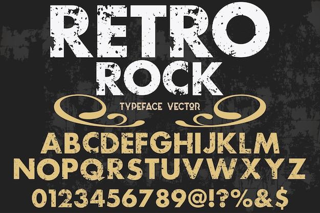 Rock de desenho de fonte de alfabeto retrô