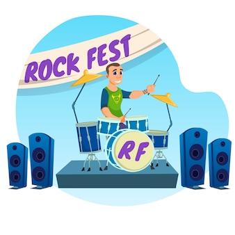 Rock fest inscrição desenhos animados plana.