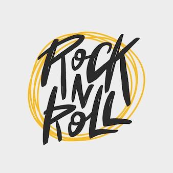 Rock n roll escova letras inscrição, tipografia manuscrita imprimir para cartão, banner, camiseta, cartaz.