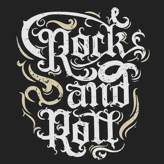 Rock n roll grunge print, rótulo vintage, rock