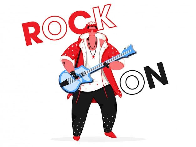 Rock on text com jovem tocando guitarra em fundo branco.