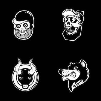Rockabilly simple badges pack