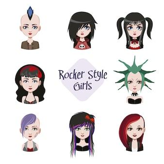Rocker estilo meninas coleção