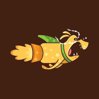 Rocket dog para ícone de personagem etiqueta do logotipo e ilustração